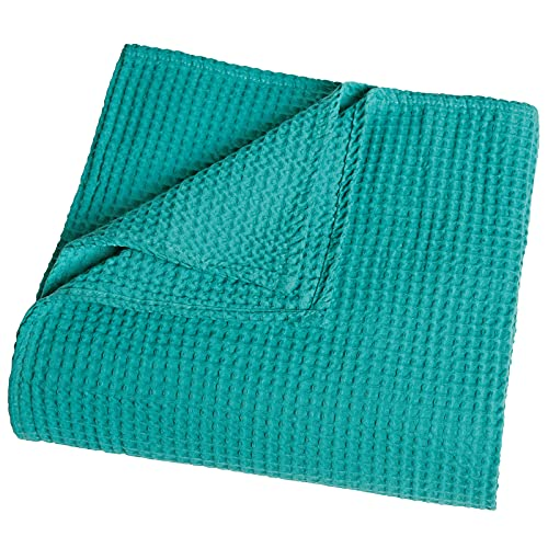 PHF 100% Cotton Waffle Weave Thermal Blanket for Home Decorations - Soft Comfortable Breathable and Moisture Absorption for All Season - Perfect for Couch Bed Sofa Twin/Double Size (150 x 200cm) Green