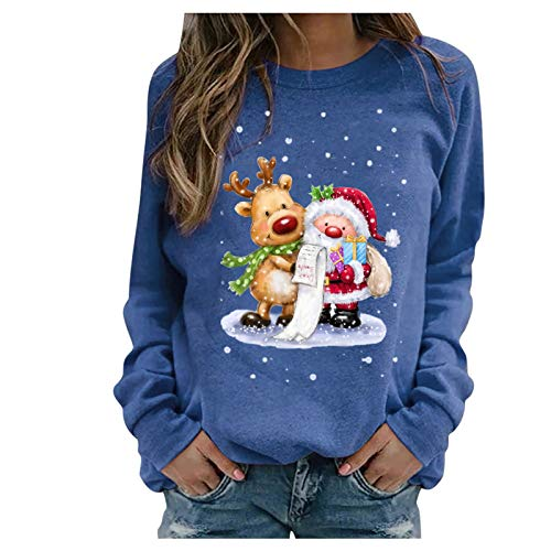 Womens Sweatshirts,Women's Christmas Casual Long Sleeve Pullover Tops Loose Blouse Shirts Sweaters Tunic
