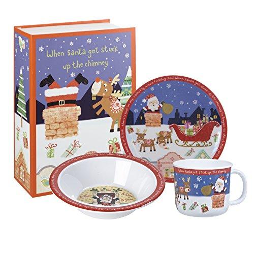 Little Rhymes - Juego de vajilla para Desayuno en Caja Regalo, 3 Piezas, diseño de Papá Noel