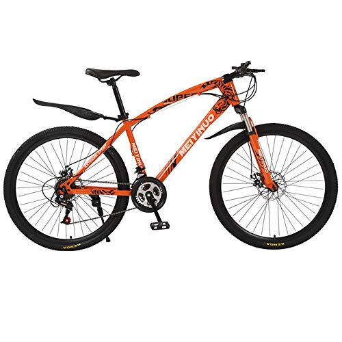 PARTAS Travel Convenience Commute - Cycling Mountain Bike Shock Absorption Cycle Ride Bicycles 26 Inch Dual Disc Brakes Adult Male and Female Students Riding School Outing to Work,Orange,21'