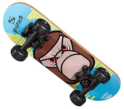 PiNAO Sports - Mini-Skateboard XXS Monkey-Design für Kinder, kleines Kinder-Skateboard (11052) [PP-Achsen und -Base, Deck aus 9-lagigem Ahornholz, PVC Rollen, 608Z Kugellager]