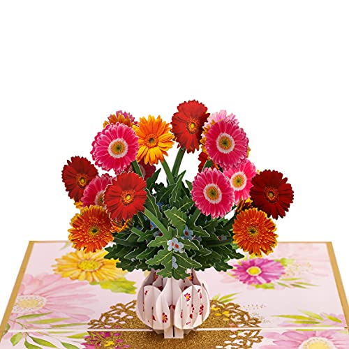 TRUANCE Pop Up Card, Greeting Card, Gerbera Bouquet Flowers, For Mother's Day, Fathers Days,...