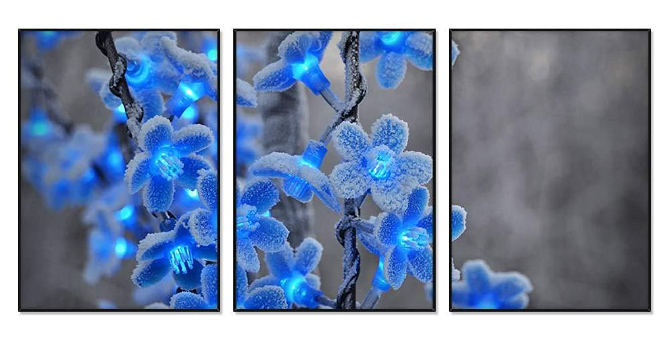 副産物情緒的れんが青い花 -A003 風景の写真 アルミ合金アートフレーム 額縁 壁掛け ホーム装飾画 装飾的な絵画 壁の装飾 ポスター 三連画(35x50cmx3枚 ブラックフレーム)