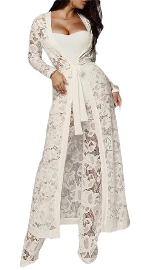 かる祝福に対応するレディースソリッドシースルーレース作物トップ&マキシカーディガン&パンツの衣装3ピースセット