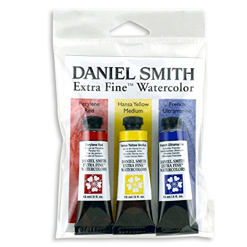 DANIEL SMITH Extra Fine Primary Watercolor Set, 3 Tubes, 15ml