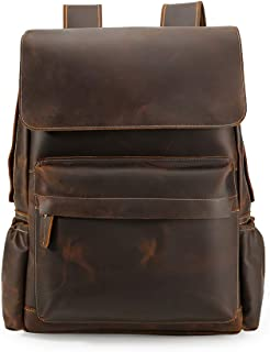 Men's Vintage Classic Leather Casual School Travel Weekender 15.6 Inch Laptop Outdoor Sports Case Luggage Suitcase Daypack Overnight Backpack Shoulder Bag Brown