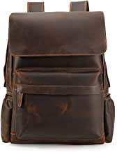 Leatherman Men's Vintage Classic Leather Casual School Travel Weekender 15.6 Inch Laptop Outdoor Sports Case Luggage Suitcase Daypack Overnight Backpack Shoulder Bag Brown