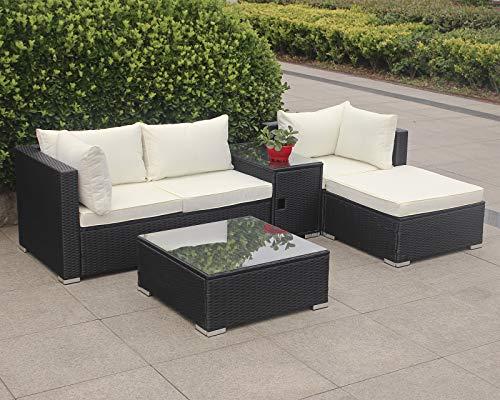 Enjoy Fit Rattan Polyrattan Lounge Sitzgruppe Garnitur Gartenmöbel aus 4 Sitze Sofa, Hocker, Tisch mit Stauraum und Abstelltisch mit Glassplatte