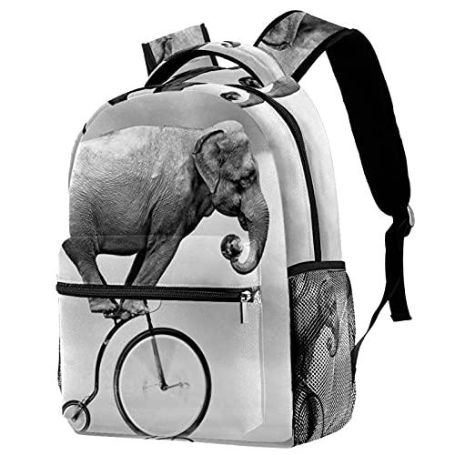 Business-Laptop-Rucksack Elefanten-Einrad wasserdichte Tasche Für Damen Mädchen, Lässiger Wander-Reise-Tagesrucksack 29.4x20x40cm