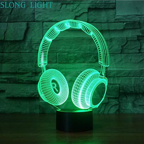 Headset DJ Illlusion Studio Monitor HiFi-Musik Kopfhörer Kopfhörer Nachtlicht 3D LED USB Tischlampe Kinder Geburtstagsgeschenk Nachtzimmer Dekoration