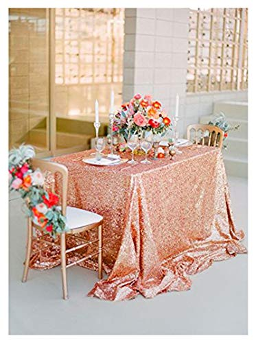 Square Table Cloth Rose Gold Sequin Tablecloth,Decorative Sequin Fabric Table Cover for Wedding Outdoor and Indoor 50 x 50 Inch