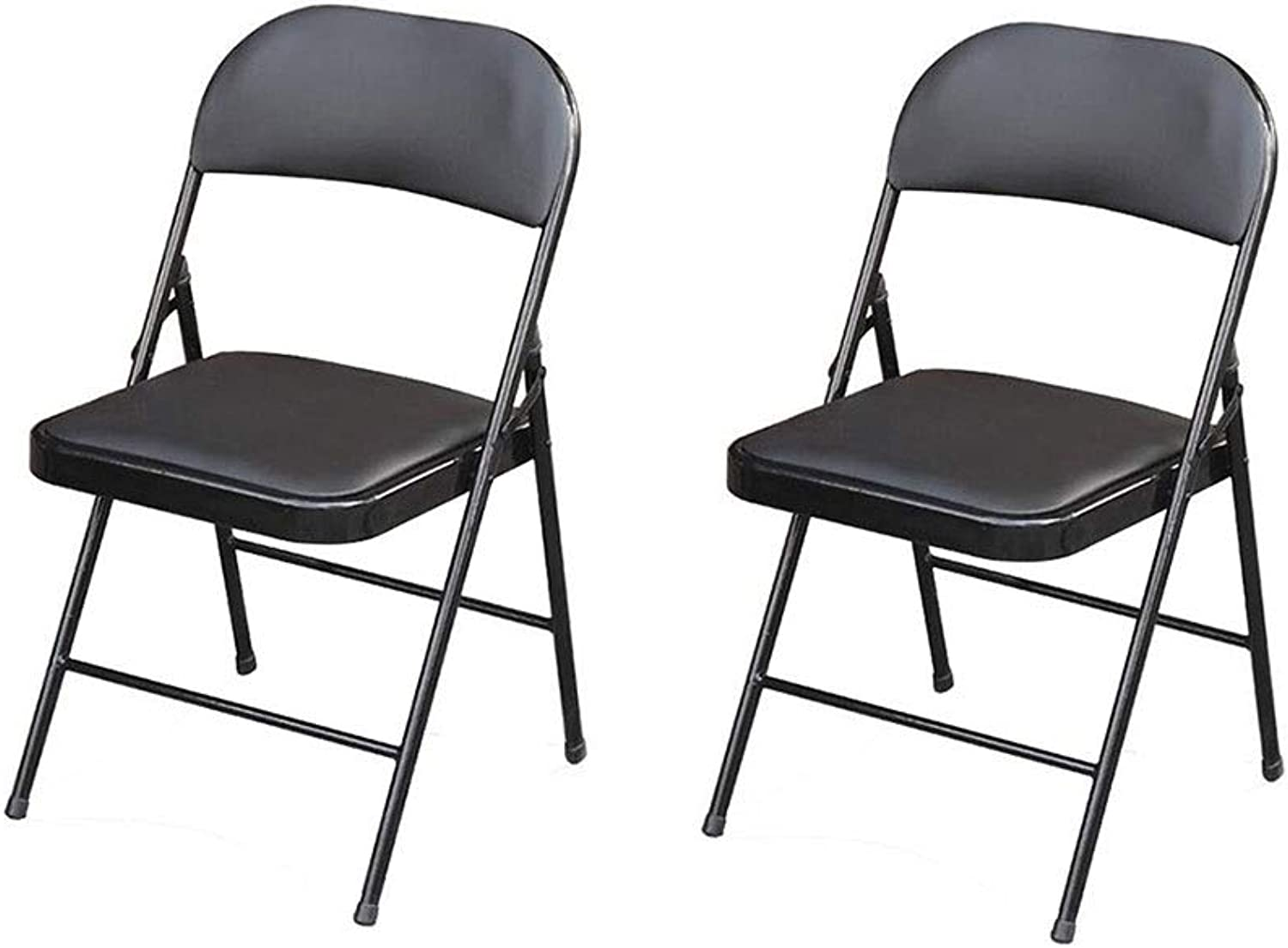 QIQI-LIFE 2 Pack-Faux Leather Metal Folding Chair Office Conference Office Training Computer Chair (color   Black)
