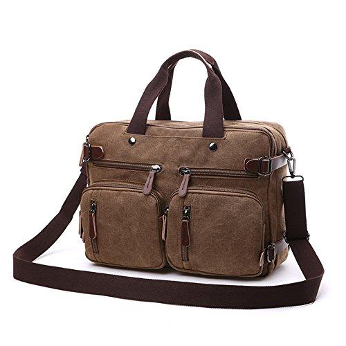 Canvas Laptop Bag Rucksack 17 inch 17.3 14 inch,Canvas Bag Shoulder 3 in 1 Multi Pocket Backpack Large Strap Black Grey Blue Business Messenger Men Notebook Bag (Brown, 17.3 inch)