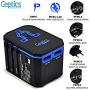 All in One World Travel Plug Adapter by Ceptics - Powerful 33W with PD & QC 3.0 USB-C Fast Charging - 2 USB Ports Wall Charger Type I C G A Outlets 110V 220V A/C - EU Euro US UK