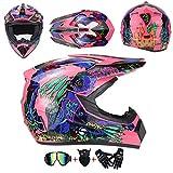 AKBOY Motocross Helm Kinder Pink Blau Full Face Motorradhelm Off-Road Motorrad Cross Helme für Mädchen Jungen Motorbike ATV MTB Sport Motorcycle Helmet Set mit Visier Brille Maske Handschuhe,S