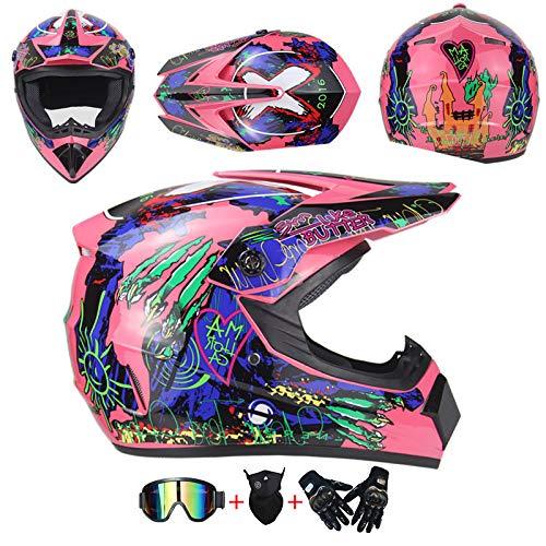 AKBOY Casco de Motocross Rosa Adulto Casco Moto Cross con Visera Casco Integral Moto Mujer y Hombre Azul Verde Cascos Infantiles Moto NiñO Protección Cabeza con Guantes Mascarilla Gafas,L