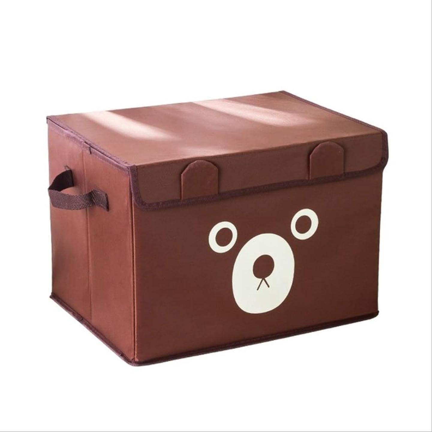 ペンス反対する反対する棚 折りたたみ式オックスフォード漫画かわいいクマ収納ボックス服下着ブラソックスキッドおもちゃオーガナイザーホームストレージビン M 茶色