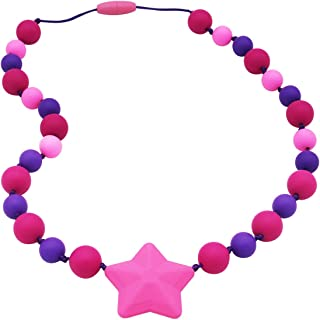 Sensory Chew Necklace for Kids, Girls - Oral Sensory Chew Toys Teether Necklace Chewing Necklace Teething Necklace - Designed for Autism, ADHD, Oral Motor Girls - BPA Free & Durable