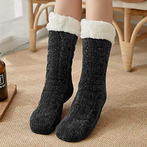 Nuevos Calcetines de Invierno para Mujer, además de algodón Grueso, calcetín cálido Antideslizante, calcetín sólido para Dormir, Feliz Navidad, Regalo para niña, calcetín para el Suelo-Style 2 Black