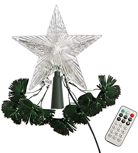 ZHONGXIN Christmas Lights, Star Tree Topper with 8 LED String Lights, Multicolor with Remote Control, Indoor/Outdoor Color Changing LED Light Show for Christmas Tree Decoration (12 Light Modes)