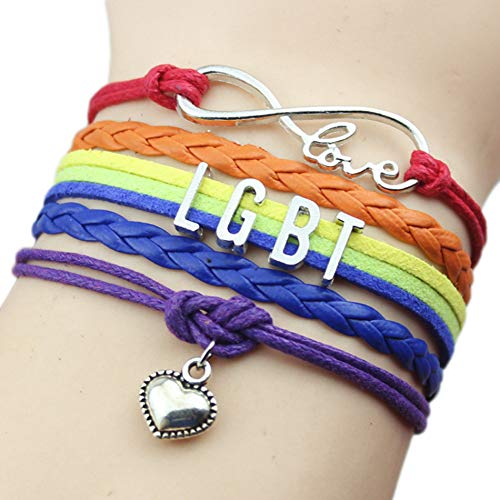 JJZHY LGBT Gay Lesbian Multilayer Weave Color Pulsera Rainbow Amistad