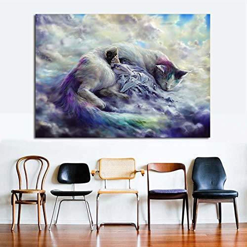 HANTAODG Leinwanddruck Drucken Magica Tier Katzen Wolken Traum Fantasie Humor Leinwand Kunst Hauptdekoration Moderne Rahmenlose Ölgemälde 50Cmx70Cm
