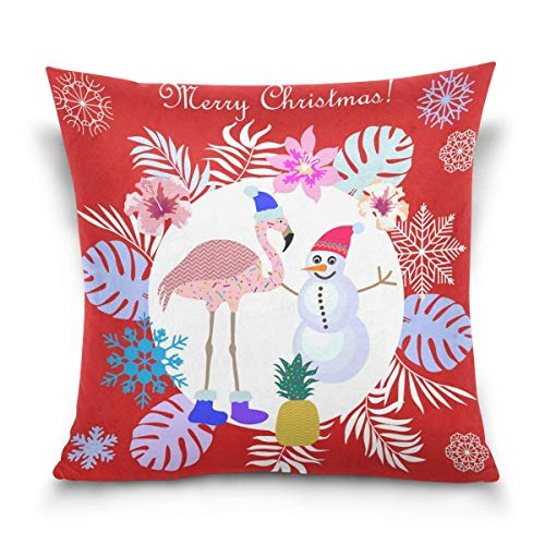 lucies Throw Pillow Case Decorative Cushion Cover Square Pillowcase, Christmas Tropical Flamingo Bird Snowman Palm Tree Snowflake Sofa Bed Pillow Case Cover(18x18inch) Twin Sides