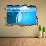 ZYjdd 3D Wall Sticker Iceberg Atlantic Ocean Underwater Mural Decal Home Decor Art Print Poster Decor 60x90cm