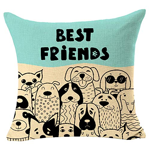 QINU KEONU Best Friends Dogs Leave Paw Prints On Your Heart Life is Better with A Dog Square Cotton Linen Decorative Throw Pillow Cover Cushion Case for Outdoor Home Sofa 18 X 18 Inch (Milky White)