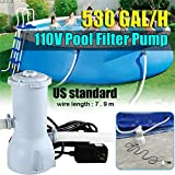 【US Stock】【Fast Delivery】Large Filter Pump ,Swimming Pool Filter Pump Of Above Ground Pools, Pool Filter for 530GAL Swimming Pools Filter Pump,110V 530 GPH Filter Pump for Household Inflatable Pool.