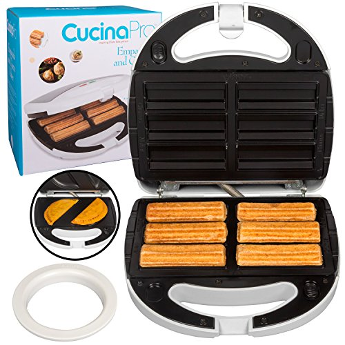 Empanada and Churro Maker Machine- Cooker w 4 Removable Plates- Easier than Empanada Press or Churro Press- Includes Dough Cutting Circle for Easy Dough Measurement, Great Mother's Day Gift