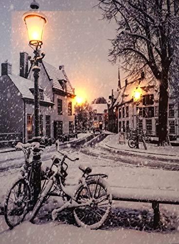 CBK-MS LED Bild Leuchtbild Fahrräder im Winter auf Dorfstrasse, 3 LEDs, Batteriebetrieb, Leinwandbild Wandbild 30 x 40 cm