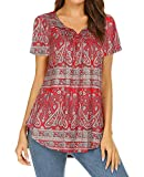 Summer Tunics for Leggings Women Casual Short Sleeve Shirts Paisley Button-up Blouses Maternity Tops Red XL