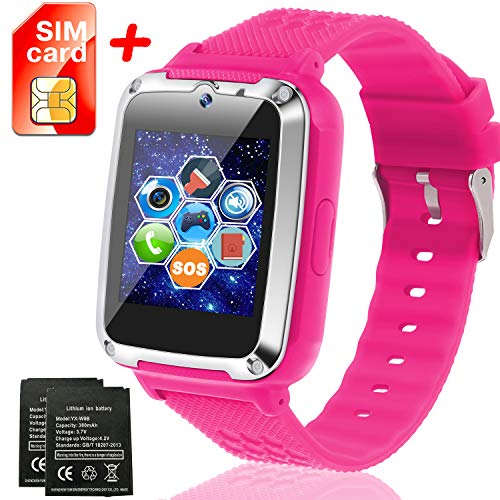 Kids Smartwatch [SIM Card and Extra Battery Included], Kids Smart Watch Phone with 12/24 H Touch Screen SOS Camera Games Flashlight Electronic Learning Toy for 3-14 Years Old Boys Girls Toddler (Pink)