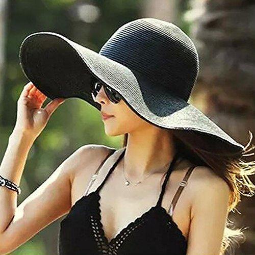 Tong Yue Nouveau Mode pour l'été Pliable Large Bord Floppy Sun Beach Chapeau décontracté Vacances Voyage Chapeau de Paille pour Femme/Fille