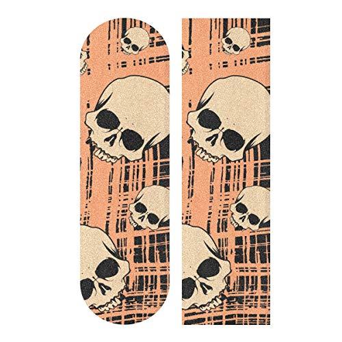 BECCI Skateboard-Griptape mit Totenkopf-Motiv, Schleifpapier, blasenfrei, leicht zu haften, Longboard-Griffband, rutschfest, reißfest, Skateboard-Griffband, 23,1 x 84,1 cm