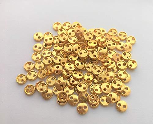 金色ボタン約5mm 80個 極小 小さめ ハンドメイド材料 デコ材料 ドール用 人形用 ミニチュア用