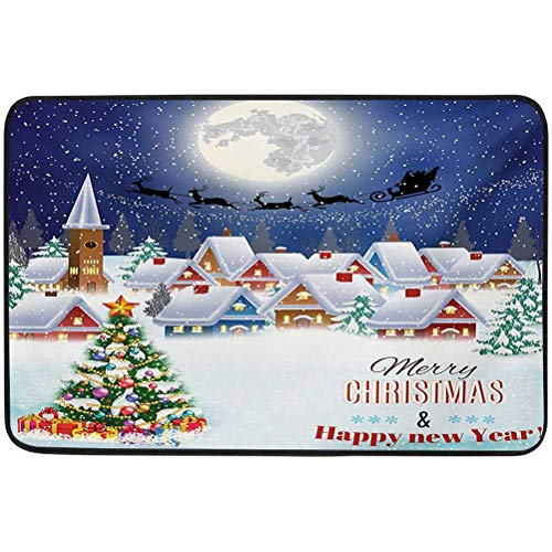 YUAZHOQI Christmas Cute Doormat, Moon Santa Claus Reindeer Hovering in Winter Sky of a Small Village Illustration, 15.75' x 23.6' Welcome Mats for Shoe Scraper, Navy White