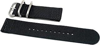 DaLuca Two Piece Ballistic Nylon Watch Strap - Black : 20mm
