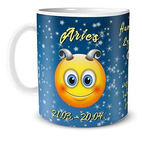 TRIOSK theebeker smiley sterrenbeeld raam met spreuk als grappig geschenk voor vrouwen en mannen voor een verjaardag