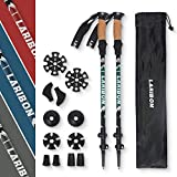 LARIBON Trekking Poles, Nordic Walking Sticks w/Level Lock, Adjustable Height to 55inches, 7075 Aluminum Lightweight Hiking Sticks for Hiking, Trekking, Walking, Cork Grip Handle & Padded Strap