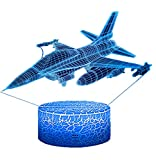Night Lights for Kids Plane Aircraft Airplane 3D Night Light Bedside Lamp Fighter Toy Light 7 Colors Changing with Remote Control Best Christmas Gifts and Birthday Gifts for Boys Girls Kids Baby
