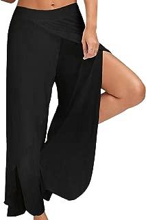 Women Simple Cropped Pants High Split Flowy Layered Yoga Palazzo Pants