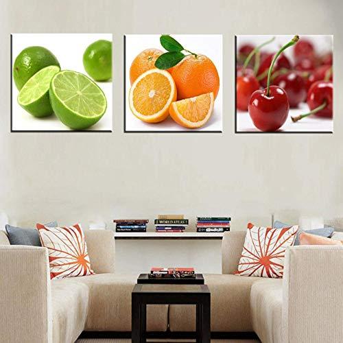 Non-branded Muzimuzili Nature Morte Impressions sur Toile Fruits Moderne Maison Décoration Murale Lime Orange Cerise Affiche Toile Peinture pour Cuisine Mur Art Décor Cadeau-30X30Cmx3Pcs sans Cadre