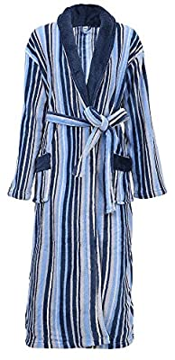 Men's Robe Soft Plush Velvet Terry Striped Bathrobe