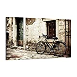 Cuadro sobre lienzo - Impresión de Imagen - Calle bicicleta ciudad ruinas - 120x80cm - Imagen Impresión - Cuadros Decoracion - Impresión en lienzo - Cuadros Modernos - AA120x80-2667
