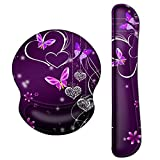 ArtSo Upgraded Wrist Rest Support for Mouse Pad & Keyboard, Ergonomic Gel Mousepad Non-Slip Rubber Base Home ,Office Pain Relief, Easy Typing Cushion Neoprene, Soft Memory Foam, Purple Heart butterfly