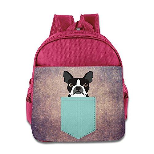 Boston Terrier And French Bulldog Kids Backpack School Bag For Boys/girls Pink