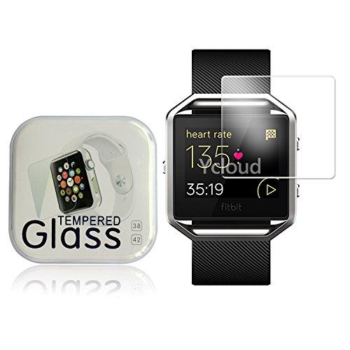 Ycloud Panzerglas Folie Schutzfolie Bildschirmschutzfolie für Fitbit Blaze Smart Watch Screen Protector mit Festigkeitgrad 9H, 0,26mm Ultra-Dünn, Abger&ete Kanten
