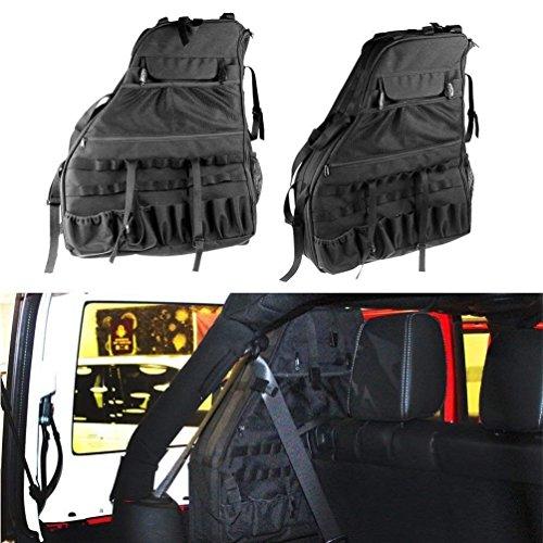 i-shop Wrangler JK Rolle Bar Aufbewahrungstasche Käfig mit Mehrzwecktaschen & Organisatoren & Cargo Tasche Satteltasche Werkzeug Kits Halterung